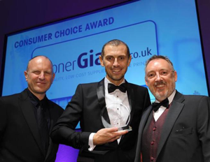 Gary Flynn Collecting the Consumer Choice Award