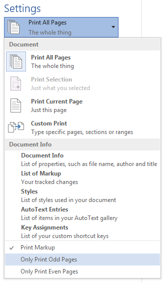 Screenshot of  duplex settings within MS Word