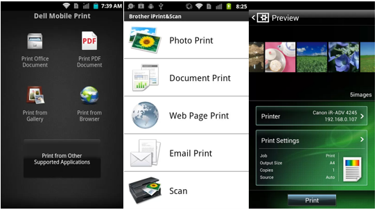 Screenshot of mobile printing apps