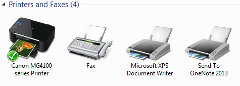 Screenshot of printers in control panel