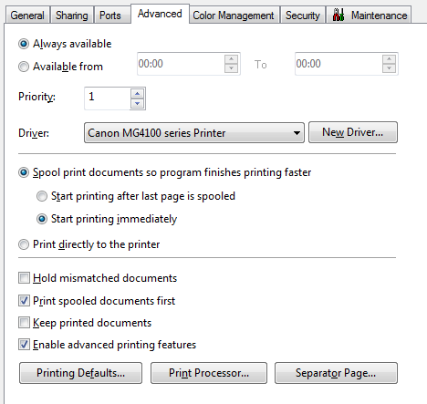 Screenshot of default settings for printers