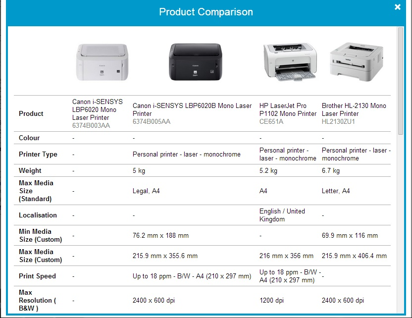 screenshot of printer product page