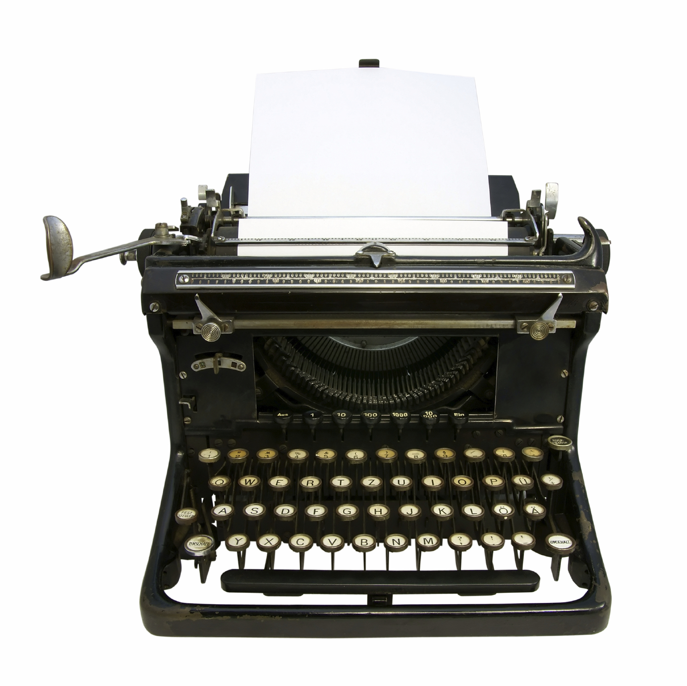 Old typewriter with clipping path