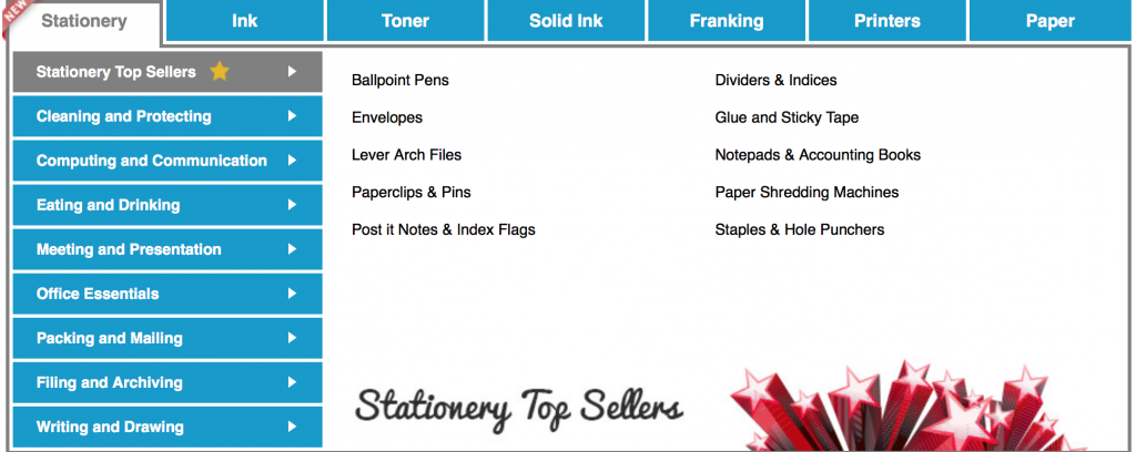 Screenshot of TonerGiant stationery page