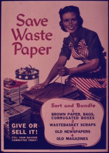 An old wartime poster asking people to save waste paper