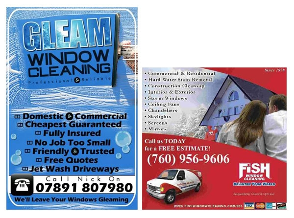 two window cleaning business flyers