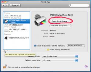 printer offline on a mac computer
