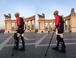 woman walking in 3d printed exoskeleton