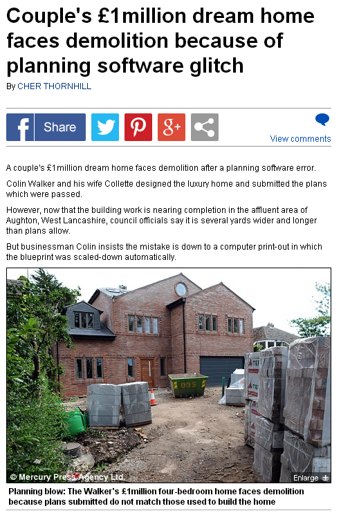 Computer error blamed for couple s £1million dream home that was built too big   Mail Online
