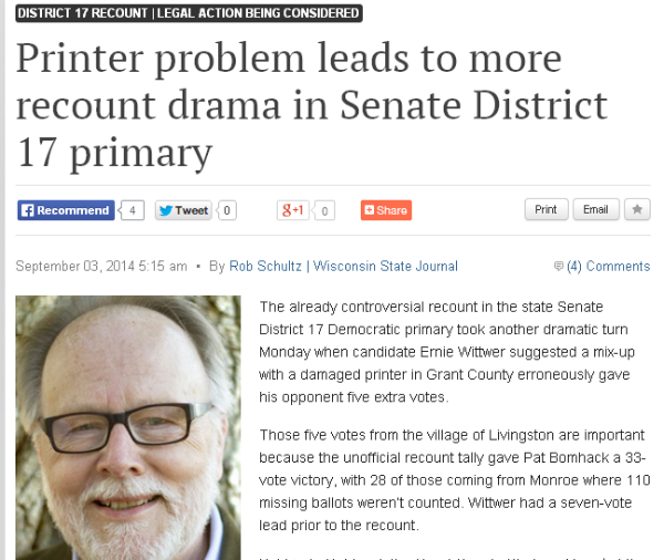 Printer problem leads to more recount drama in Senate District 17 primary   Wsj