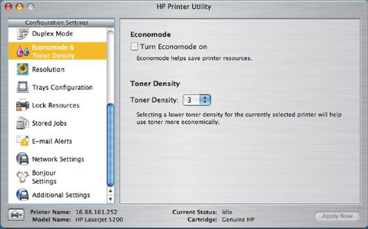 HP printer utility screenshot