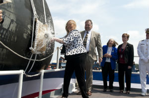 champagne smashed at new ship launch