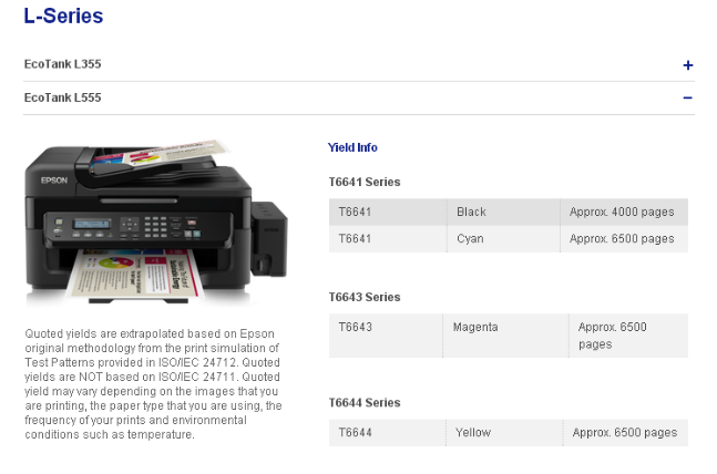 screenshot from Epson website quoting page yield of L555