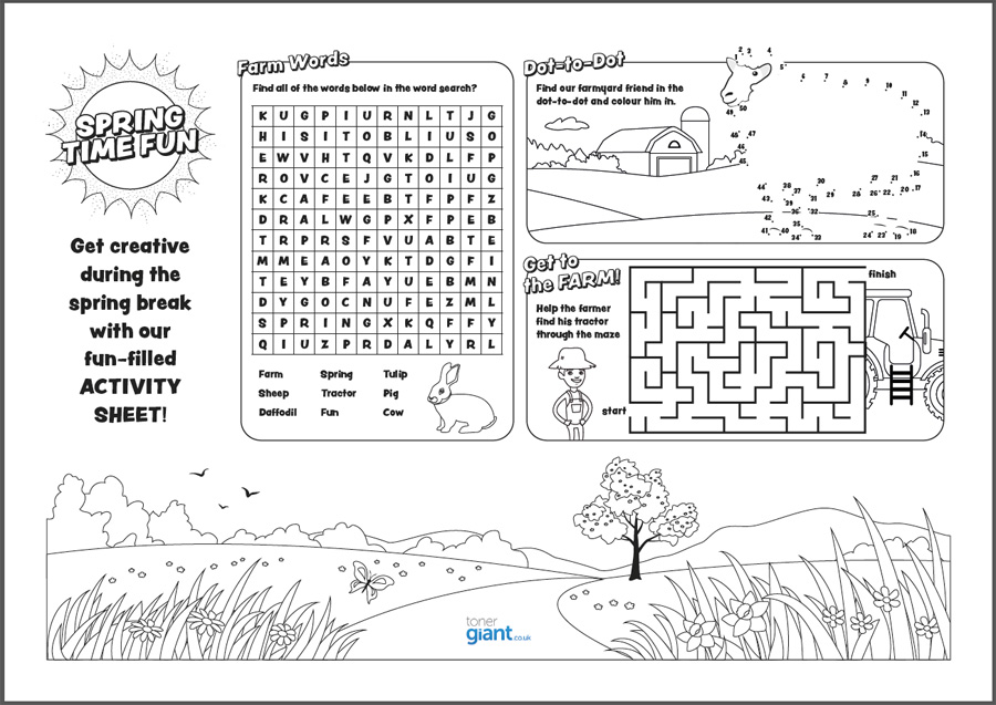 Printable Activity Sheet for Kids - Toner Giant
