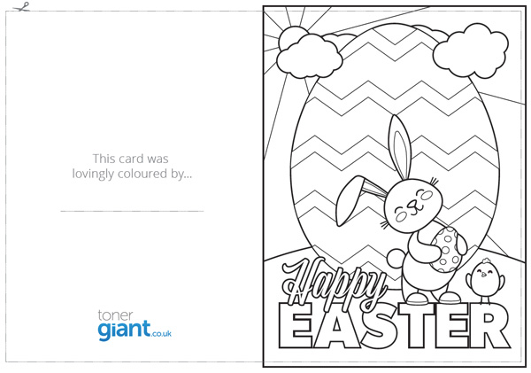 Printable Easter Card Toner Giant Easter Card Template Cute