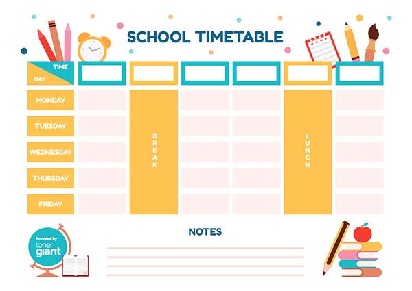 Timetable Template | Fun Timetable Template Toner Giant